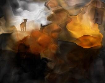 Hyena Pass – Abstract Art - Original Wildlife Art - Downloadable Art Print - Instant Download – Exclusive