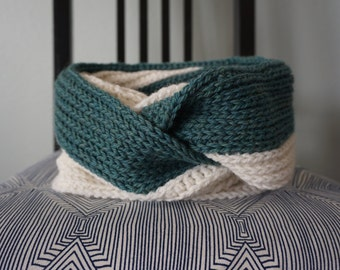 Dual Tone Double Wrap Cowl - Dark Teal