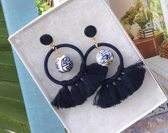 """Rio Ultra-Light """"Ginger Jar"""" / Chinoiserie Blue and White Bead, Beaded Tassel Earrings"""