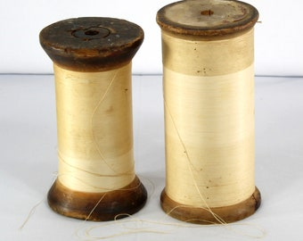 """Wooden Thread Spools, Huge Antique, Vintage Spool with Thread, 6-7"""" Tall, Chunky, Sewing, Home Decor"""