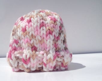Pink Newborn Knit Hat, Knit Baby Hat, Baby Shower Gift, Ready to ship