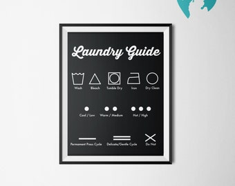 Printable Art - Laundry Room Decor - Laundry Guide - Housewarming gift - College Decor - Student - Graduate Gift