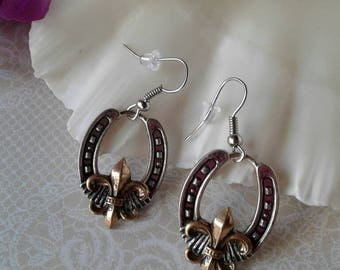 Horseshoe Fleur De Lis Earrings