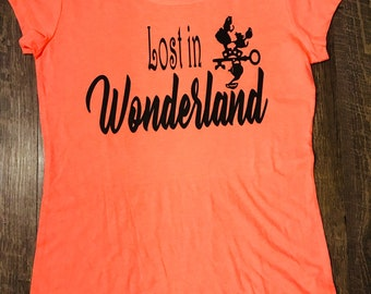 Lost in Wonderland Disney themed shirt with Alice in Wonderland teacup and rabbit silhouette