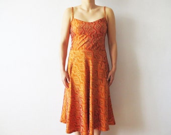 Ikat Print Silk Summer Dress Orange Brown Spaghetti Straps Knee Length Open Back Sundress with Pockets Medium Size