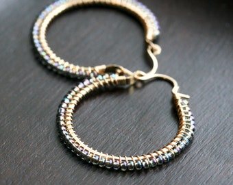 Blue seed bead hoops, beaded hoop, Czech glass, 14k gold filled, wire wrapped, peacock, Mimi Michele Jewelry