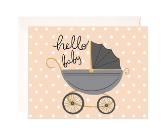Hello Baby Card: Handmade Hello Baby Carriage Greeting Card