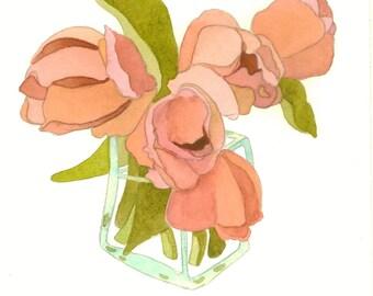 Pink Tulips Remembered ORIGINAL watercolor painting