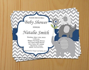 Blue Baby Shower Invitation Boy Elephant Baby Shower Invitation Baby Boy Shower Invitation Baby Shower Invite (06) / Free Thank You Card