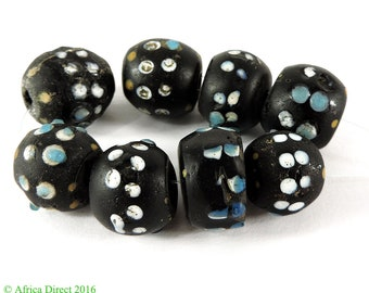8 Skunk Venetian Trade Beads Double Row Raised Dots Africa 106160