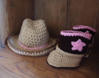 Cowgirl baby outfit, Cowboy newborn outfit, baby cowboy boots hat, tan and brown, blue cowboy boots, western baby costume, boots