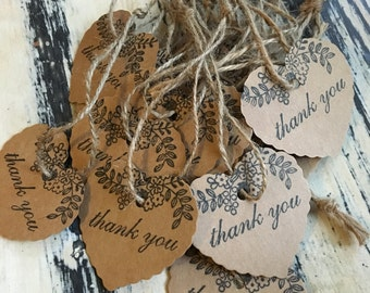 25 x Kraft Floral Heart Thank You Tags