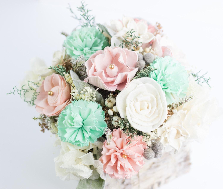 Mint Wedding Flowers: Mint Dusty Pink Pink & Ivory Sola Flower Centerpiece Birch
