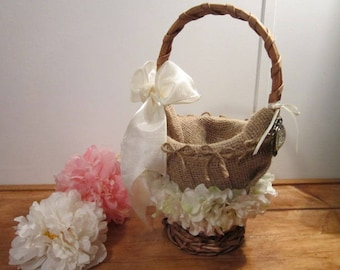 wedding, rustic flower girl basket, miss sassy flower girl, burlap design basket, bridal, flower basket, petals, timelesspeony
