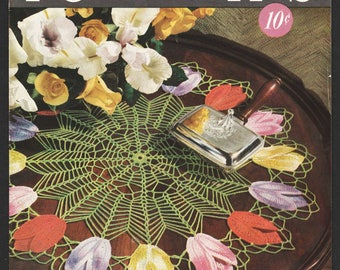 Flower Doily Patterns Crocheted Floral Doilies Designs 1950 Out of Print Coats and Clark Book 268 Contains 11 Designs