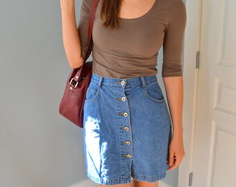 Vintage Button Front A-Line Denim Skirt
