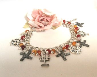Pagan Jewellery Brigid Fire Goddess Brigid's Cross Pagan Bracelet