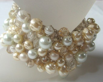 Wedding Bridal Cuff Bracelet, Light Gold PEAR Champagne Crystal, Freshwater, Glass Pearls, Ivory/White, Wide Width Hand Knit Sereba Designs