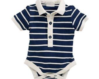 Polo neck striped bodysuit