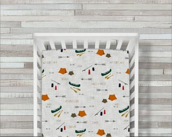Crib Sheet, Boy, Fitted, Camping, Fishing, Bear, Moose, Canoe, Tent, Woodland, Father, Son, Mountains, Crib Bedding, Baby Bedding, Children