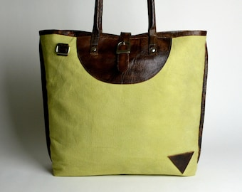 Green buckle tote ~ Green canvas/ leather tote ~ Laptop Tote ~ Leather Tote  ~ Canvas Tote ~ Spacious tote ~ orgainc tote~ Travel Tote