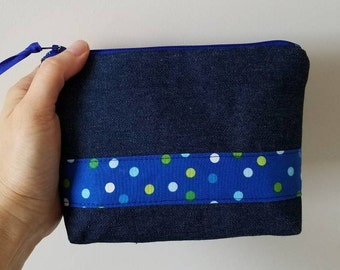 Makeup pouch, Denim and Dots printed cotton fabric zippered pouch, Cosmetic zipper bag, Cute zipper pouch