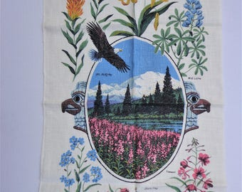 Wildflowers of Alaska R. Batchelder Linen Kitchen Towel, Appears Unused, Nice Vintage Tea Towel  FS