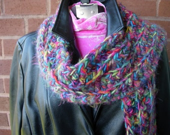 Beautiful, Multi-Colored, Hand-Crocheted Scarf