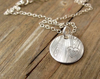 Personalized Necklace - Silver Wood Grain Necklace - Faux Bois Jewelry - Woodland Wedding Jewelry