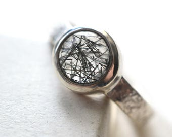 8mm Tourmalated Quartz Ring, Hammered Sterling Silver Natural Black Rutilated Quartz Crystal Ring, Boho Stone & Silver Jewelry