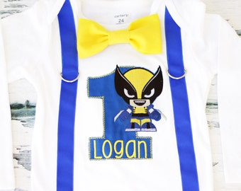 Boy first birthday Wolverine themed boy cake smash outfit boy embroidered wolverine x-men themed birthday onesie bow tie suspender set