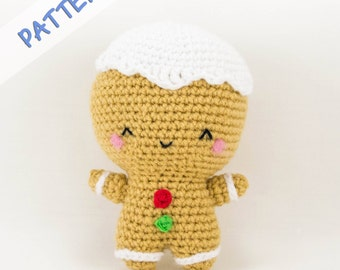 Gingerbread Crochet Pattern - Crochet Gingerbread Man Pattern - Gingerbread Doll Pattern - Amigurumi Gingerbread Man Pattern