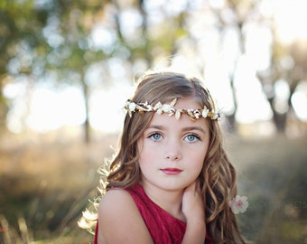 Gold Flower Crown, Greek Flower Crown, Gold Ivory Flower Crown, Greek Goddess, Ivory Flower Crown, Gold Leaf Flower Crown, Woodland