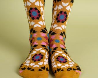 Men's colorful dress socks in mustard   Mediterranean tiles design