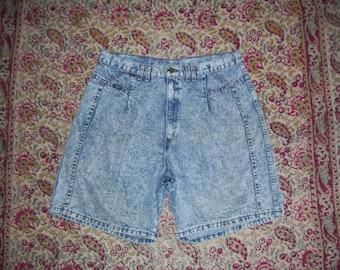Acid Wash Shorts Hippie Shorts Vintage Chic 1980s 80s Acid Wash Denim Jeans High Rise Waist Shorts Boho Summer Women Adult Plus Size 20