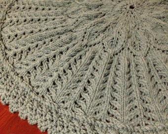 "100% Wool Hand Knit Sage Leaf Baby Blanket, 36"" Circular"