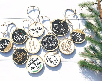 Rustic Hand Painted Hand Lettered Wood Slice Ornaments