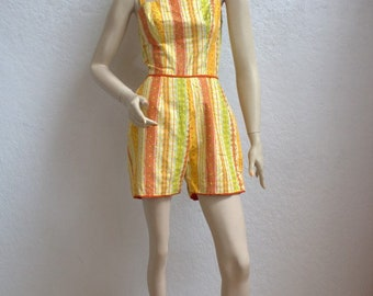 "1950's Cotton Playsuit / Orange, Green, and Yellow Floral Print Stripes / Size: 24"" Waist"