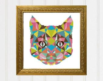 Cat cross stitch pattern/Animal cross stitch/modern cross stitch/colorful chart/geometric cat /cross stitch chart/cat pattern/ 17-007