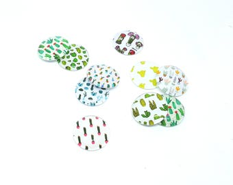 Cactus set of 10pcs cabochons / cabochons Glas 20 mm round/jewellery - cactus diy jewelry