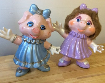 2 Adorable Pig Art Dolls Folk Art Pig Collectible Pig FREE SHIPPING!!