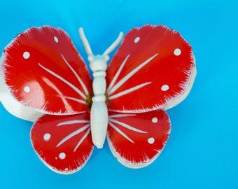 Butterfly Brooch Enamel Red White 3D