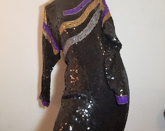 FREE  SHIPPING  1980 Abstract Geometric Sequin  Dress