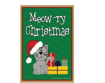 "Grey Cat Merry Christmas, Meow-ry Christmas Green Fridge Refrigerator Magnet 2.5"" X 3.5"""