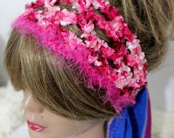 Crochet hairband, Pink Hair Accessories, Women's headband, Bohemian headband, Hippie headband, boho headband, girls headband, christmas gift