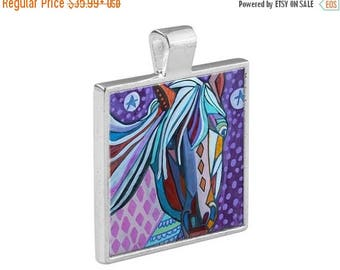 50% SALE- Horse Necklace Folk Art Jewelry - Pendant Metal  Gift Art Heather Galler Gift-  Equine Horse Lovers Abstract Modern Vegan Gif