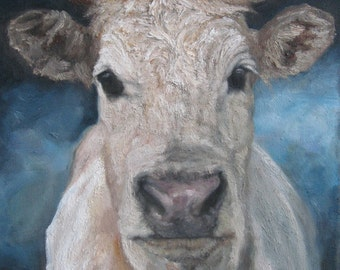 SWEET Dunn Brown COW Oil Painting, Vermont country art, Archival PRINT of original painting & Free Shipping!