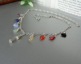 Chakra Necklace, Gemstone Necklace, Natural Crystal Necklace, Healing Crystals Necklace, Amethyst Chakra, Chakras, Lots of Natural Crystals
