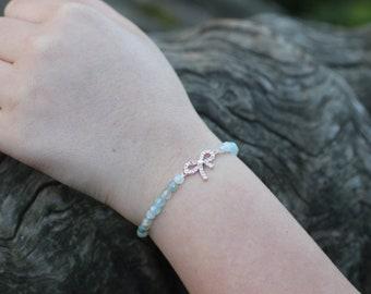 quartz natural stone blue color bracelet, zirconia stony Ribbons. 1 piece