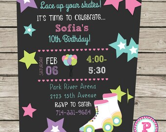 Roller Skating Birthday Party Invitation Front Back Pink Aqua Chalkboard Digital file only Lace up your skates